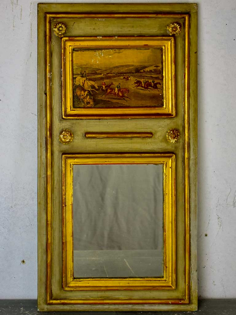"Very small vintage French trumeau mirror 13"" x 24¾"""