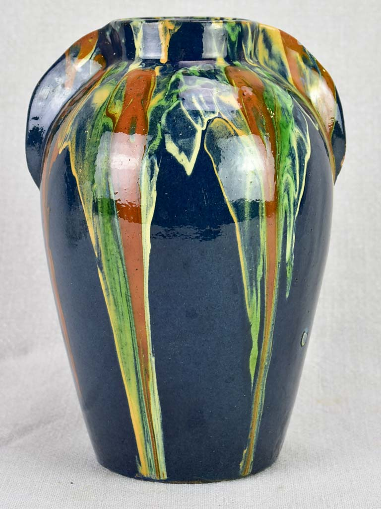 Vintage F. Hertz Annecy vase with blue ocher and green glaze 9""