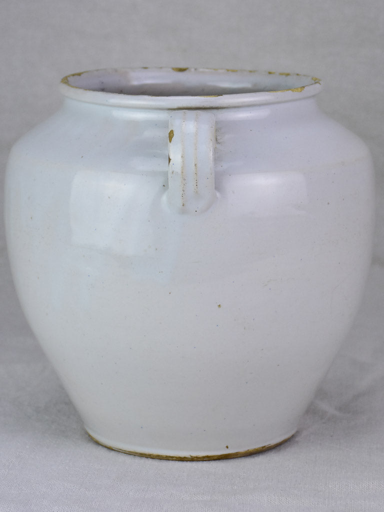 Antique French preserving pot with white glaze 9½""