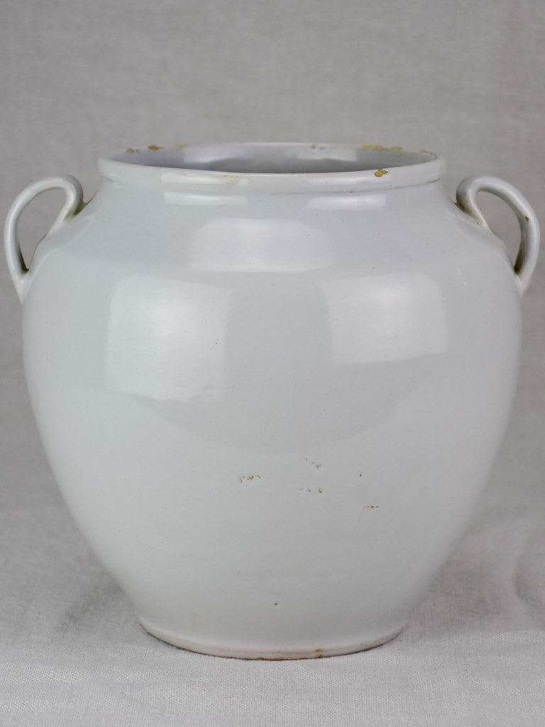 Early 20th century French preserving pot with white glaze 9½""