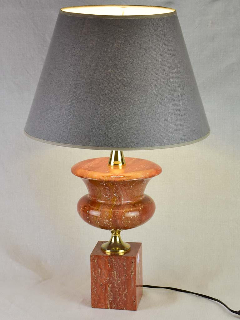 1960's Philippe Barbier lamp with red travertine and brass stand 25½""
