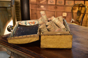 Early 19th century French filing chest with a collection of miniature garden pots