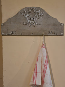 French tea towel rack with grey and white patina