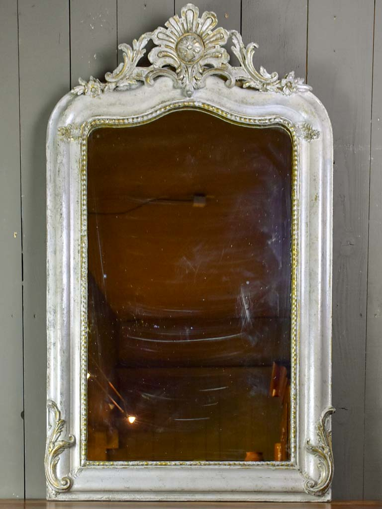 "Antique French Louis Philippe mirror with grey / gold patina 32"" x 53¼"""