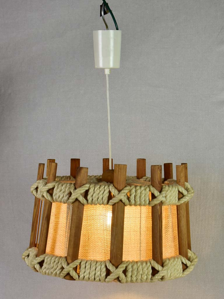 Vintage pendant light with fabric and rope