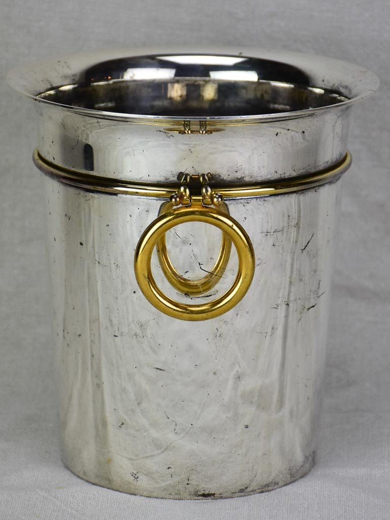 Antique French ice bucket with gold handles