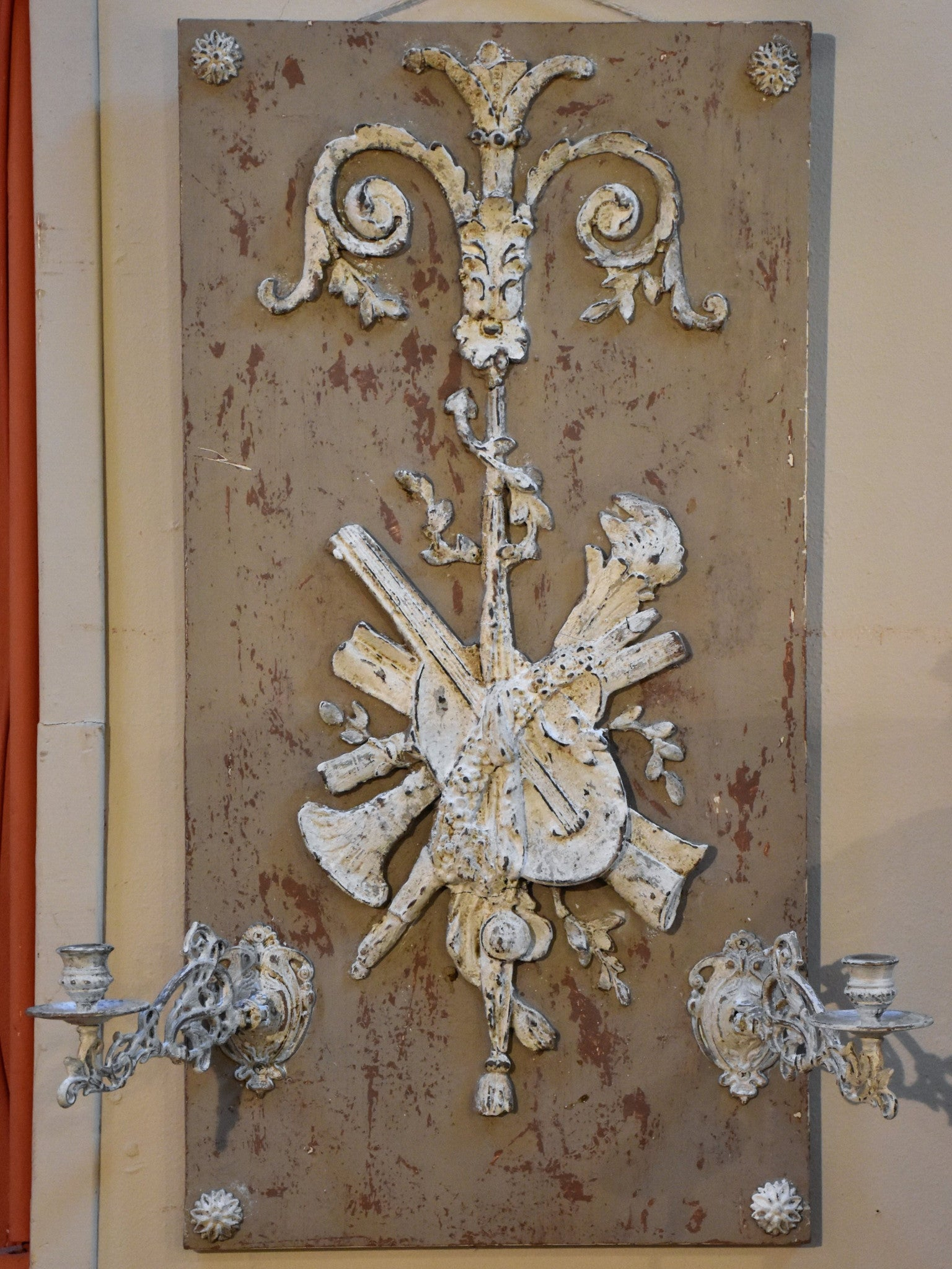 French candle wall sconce with white and grey patina