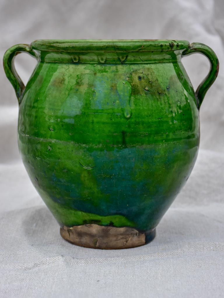 Antique French confit pot with deep green glaze 7½""