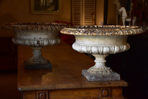 Pair of large white antique French garden urns – cast iron