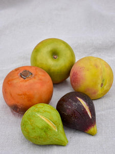 Collection of five vintage marble fruits