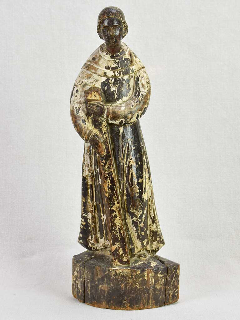 Antique French religious wooden statue 17""