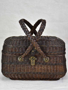 Antique French wicker lunch basket
