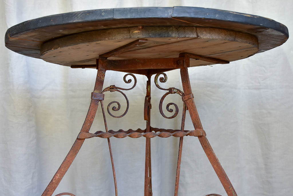 Antique Wooden Top Table with Wrought Iron Base