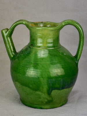 Early 20th century French water cruche with green glaze 9¾""
