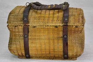 Antique French basket with pretty stitching detail
