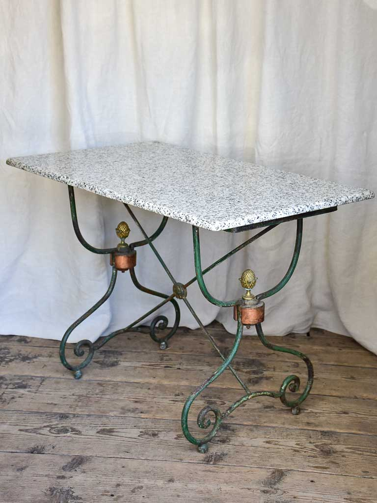 Antique rectangular Butcher's Table with Granite Top