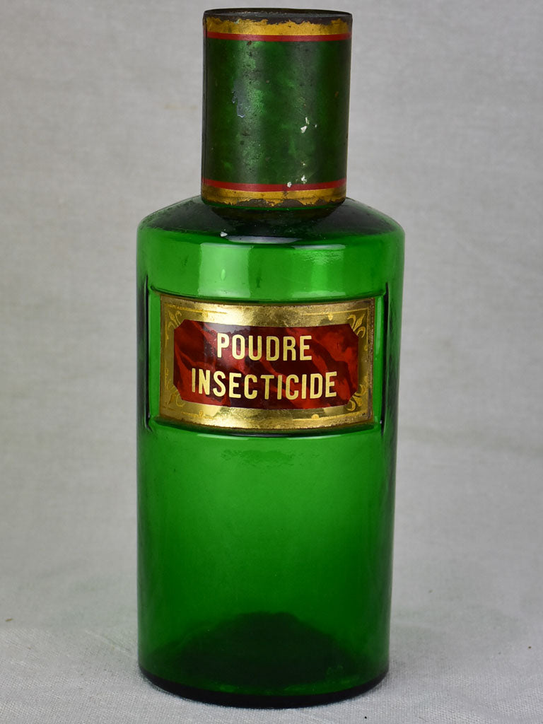 Antique French apothecary glass jar - green. Poudre Insecticide