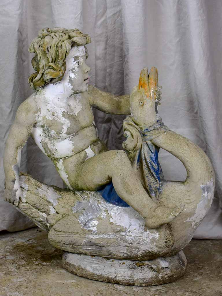 Antique Italian garden sculpture - boy on a flying goose 35""