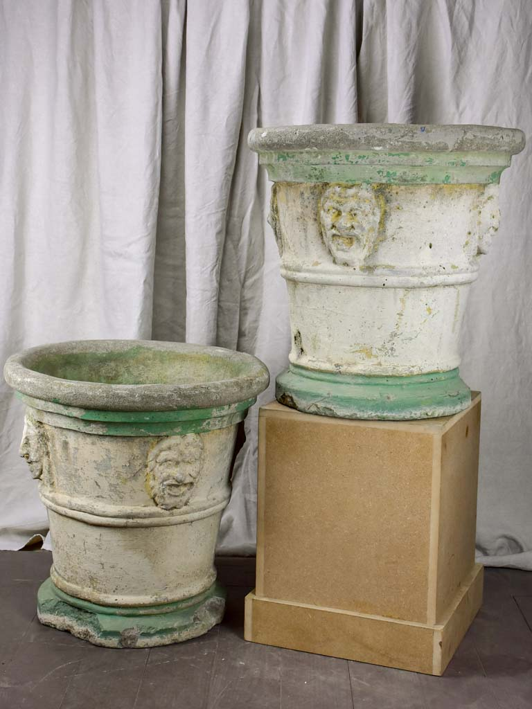 Pair of very large antique Italian garden planters with masquerades and green stripes