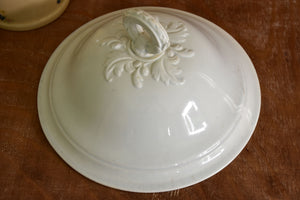 Ironstone soup tureen with loop handle