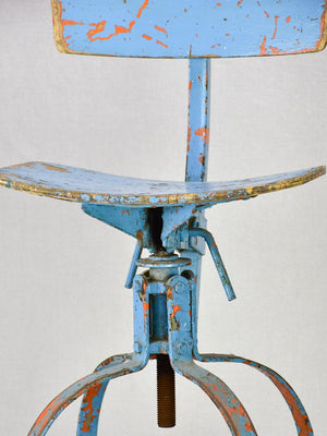 Industrial atelier workshop chair with blue patina