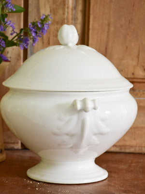Ironstone soup tureen with apple handle