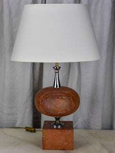 Mid century red travertine table lamp - Barbiere