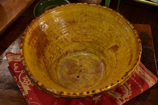 19th century yellow glazed Provencal preserving bowl