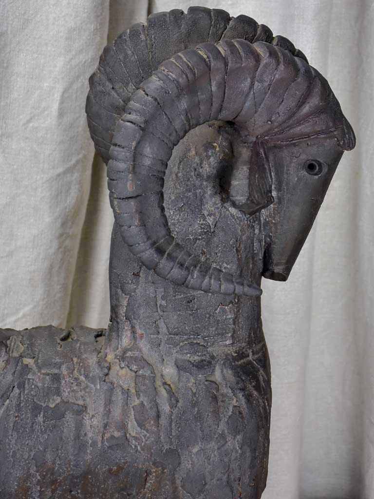 Modern clay sculpture of a ram - Dominique Pouchain