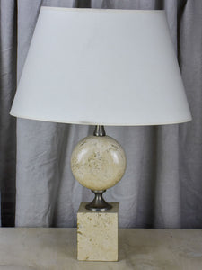 Mid century beige travertine table lamp - Barbiere