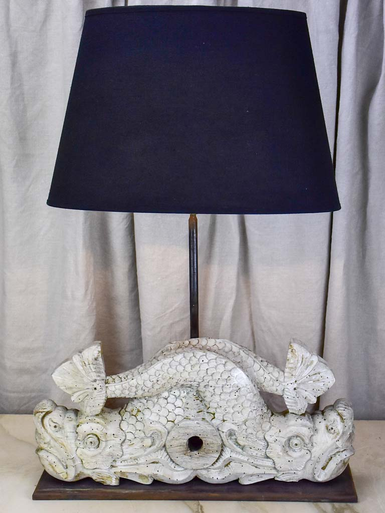 Salvaged boiserie table lamp - dauphin base