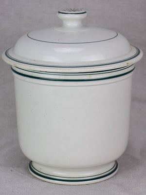 Antique French faience cheese pot with lid - Fromage Forte 9¾""