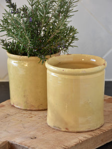 19th century French yellow ware preserving jar - two