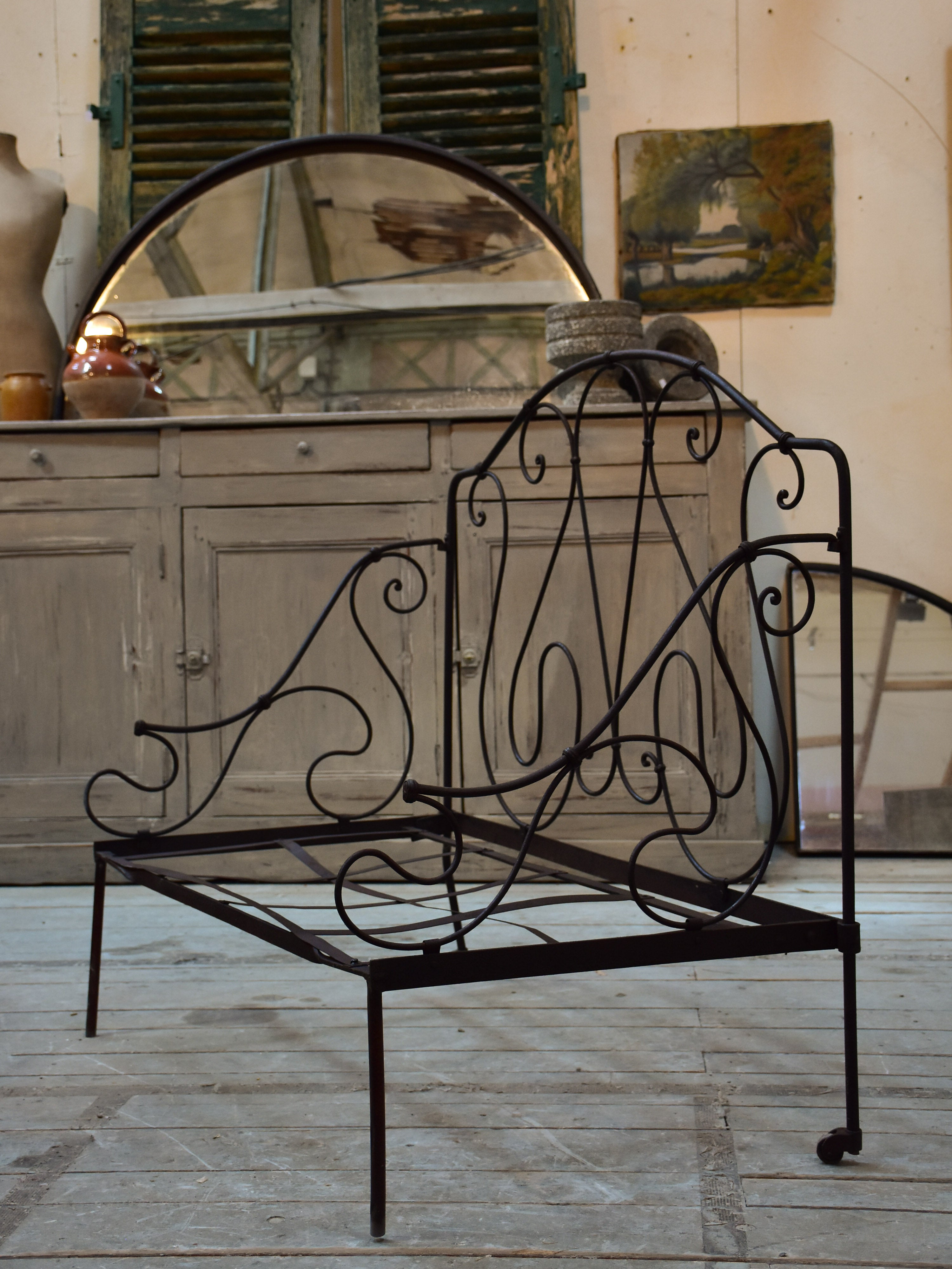 Pair of vintage French folding iron daybeds