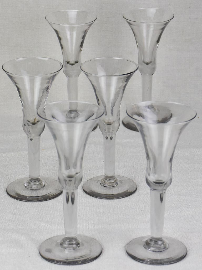 Six antique French wine glasses - hand blown