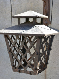 Pair of French wrought iron lanterns with wall brackets