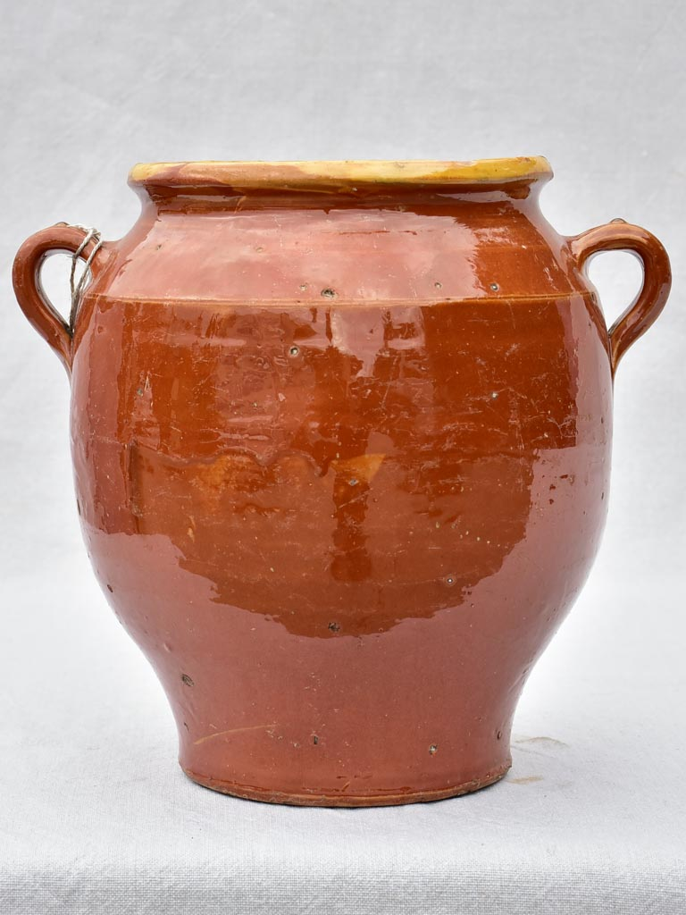 Large antique French confit pot with brown glaze 12½""