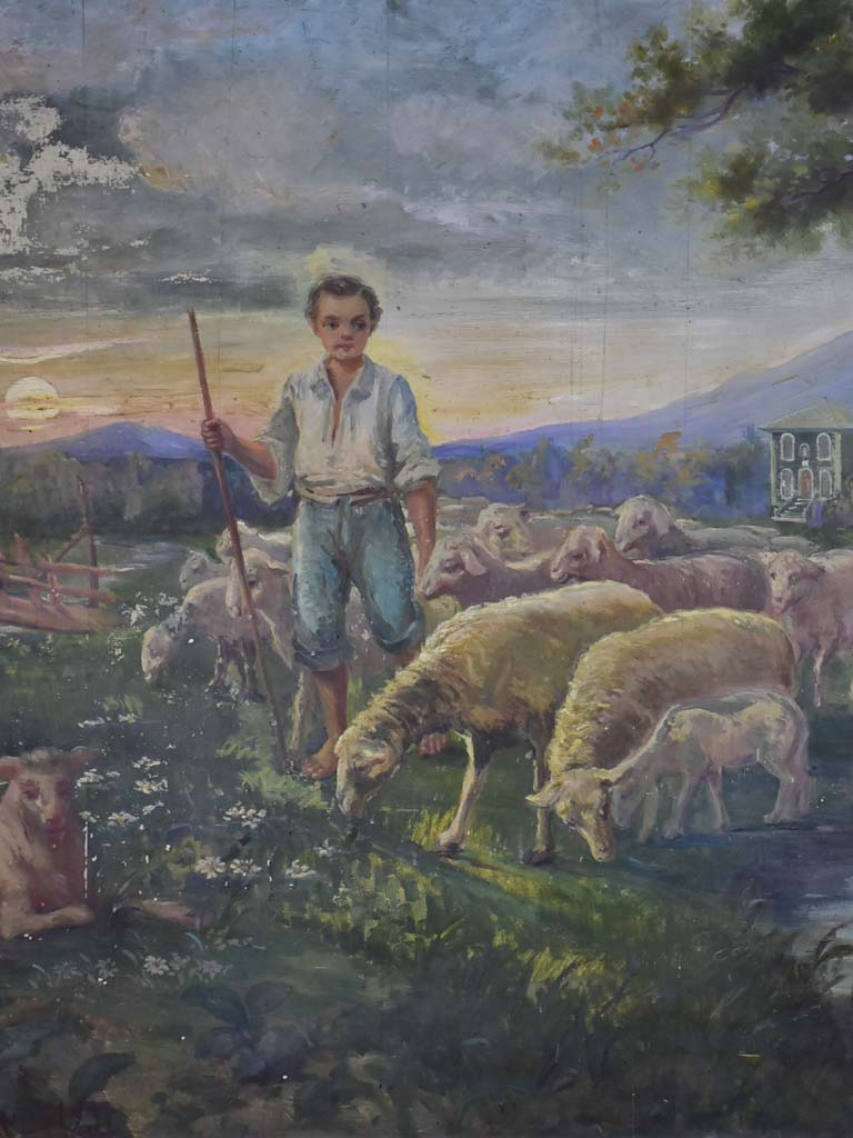 "Very large painting of a young shepherd and his flock drinking at a stream 58"" x 79½"""