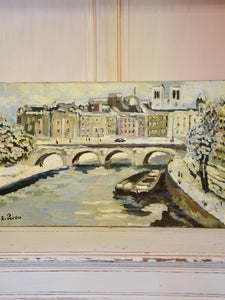 E. Pardo painting Paris in the snow