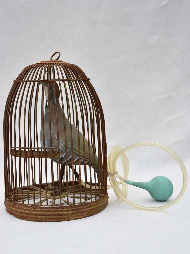 Rare antique French hunting call bird in cage