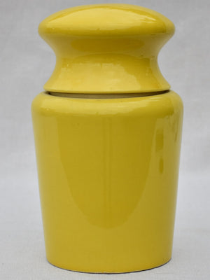 Mid century Maille mustard pot with hand painted label - yellow 11¾""