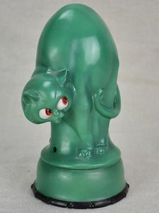 1930's French children's lamp - blue / green cat