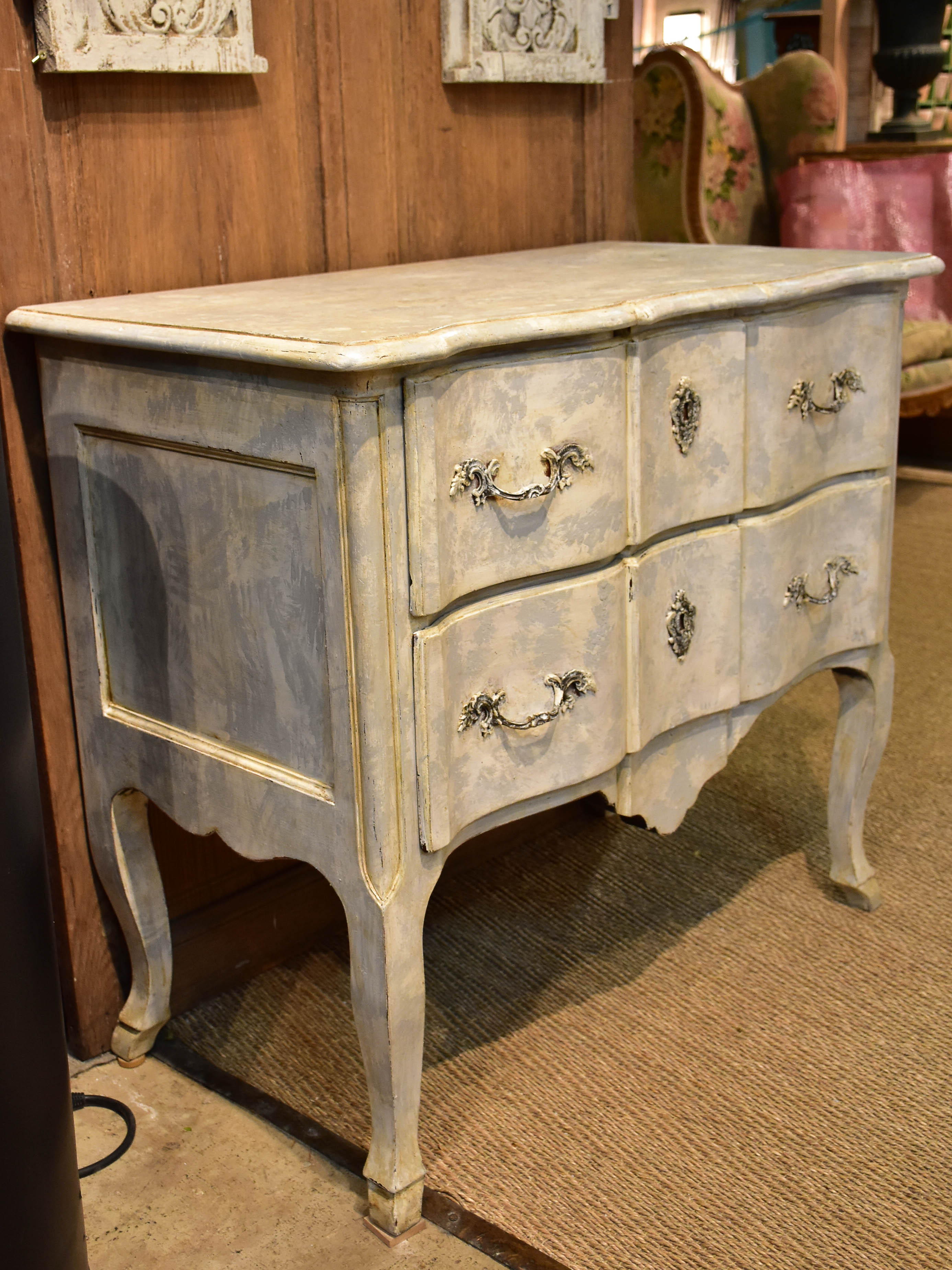 Small vintage French commode with grey patina