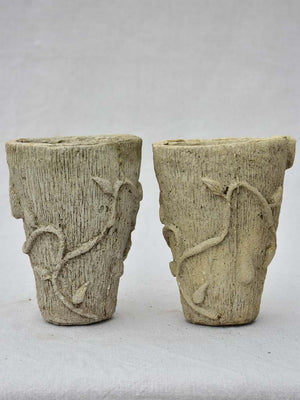 Pair of small vintage cement flower pots 6¼""
