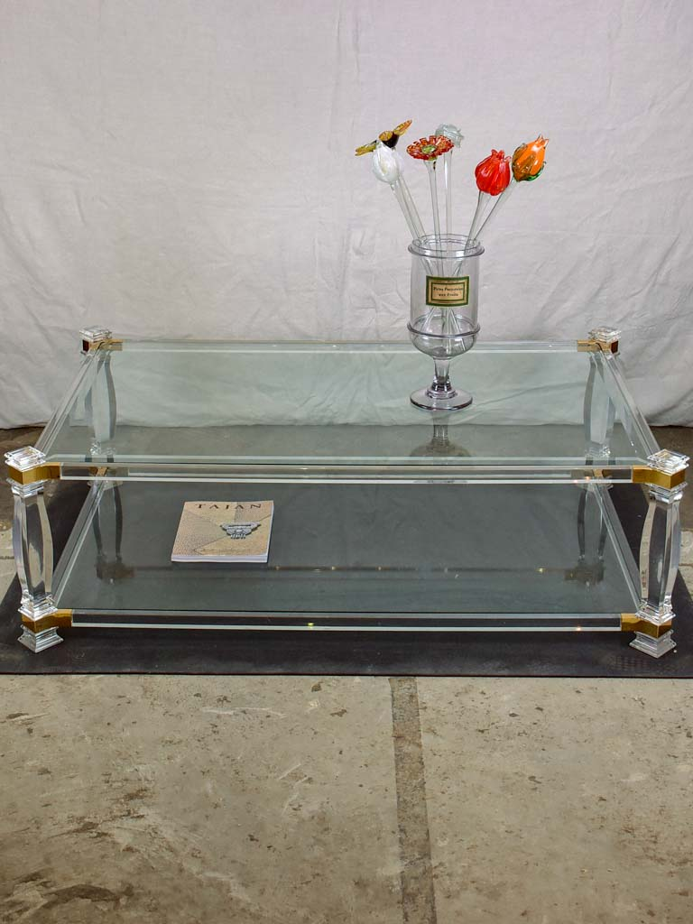 "Large 1970's glass coffee table with balustrade style legs 32¾"" x 52¼"""