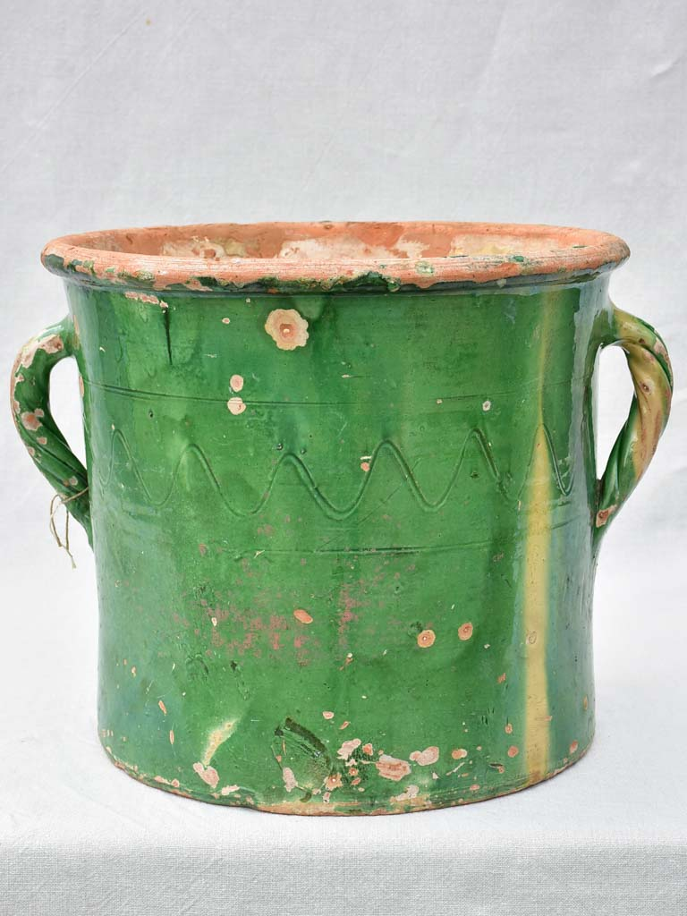 Large antique French pot / planter with two handles and green glaze