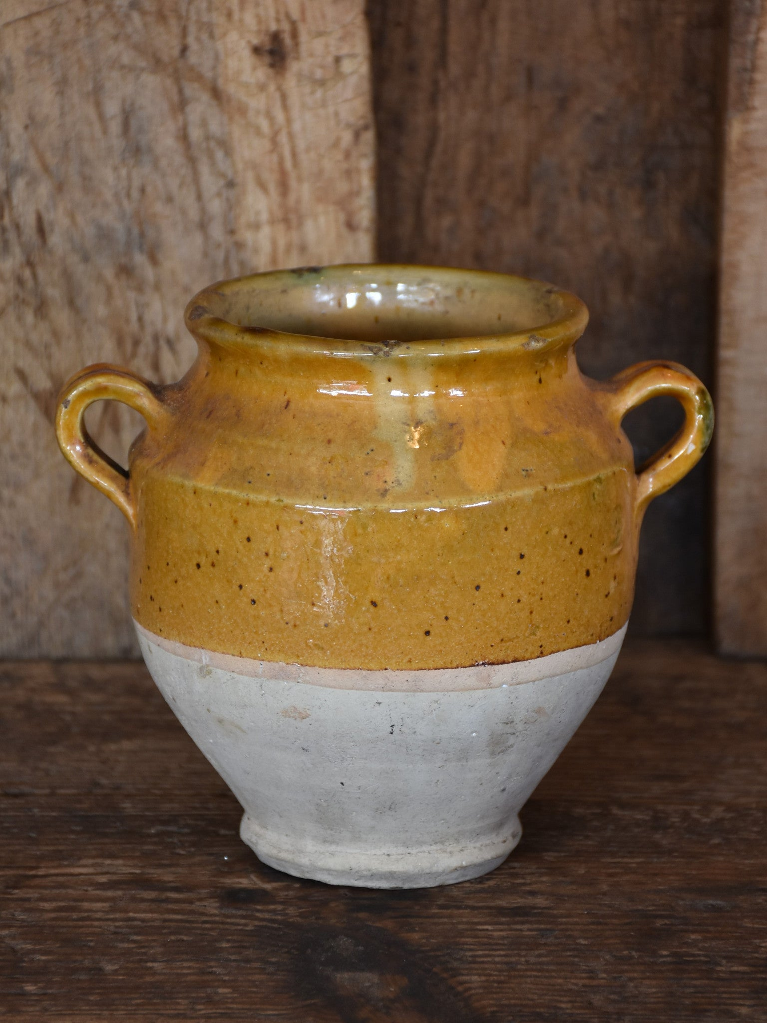 Small 19th century French confit pot with ochre glaze – 6½""