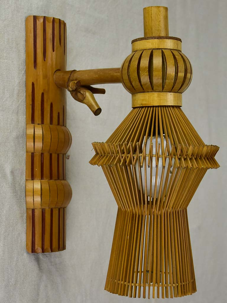 Mid century wall sconce made from fine bamboo