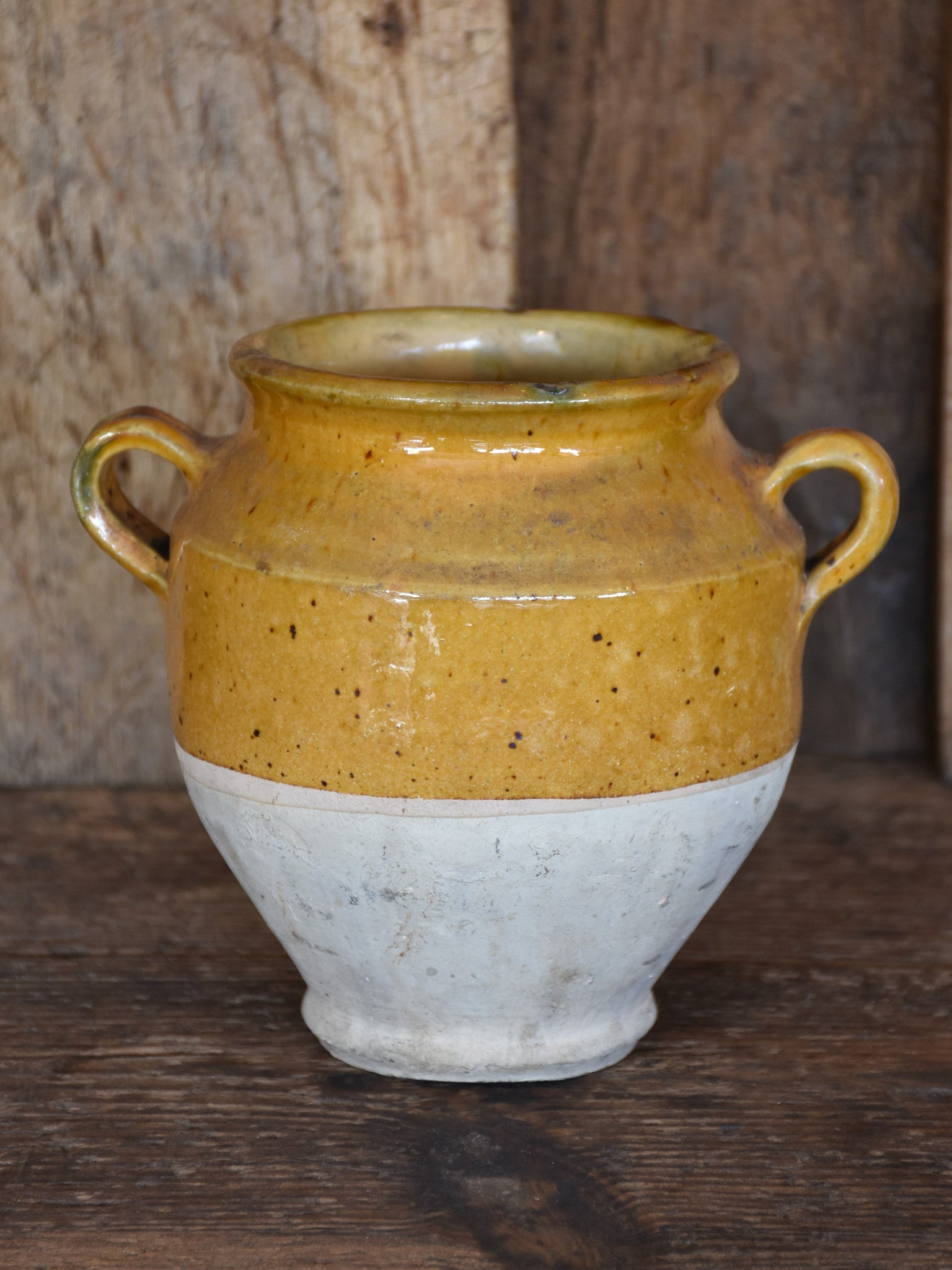 "Small 19th century French confit pot with ochre glaze - 6½""?"