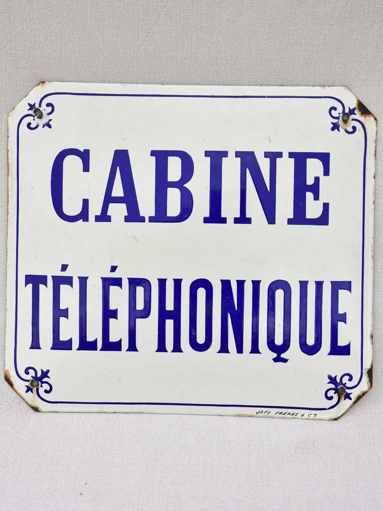 "Vintage enamel sign ""Cabine Telephonique"" blue and white 15¾"" x 14½"""
